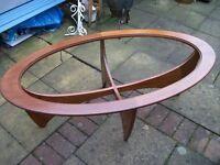 G PLAN 'ASTRO' Oval Glass Teak Wood Mid Century Coffee Table.
