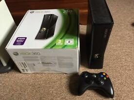Xbox 360 Slim 250GB with box, stand, games & all wires