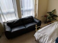 *REDUCED* lovely black leather couch/sofa, lightweight and easy to carry