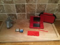 Nintendo DSI red with stylus, charger, case and 2 games NEW PRICE