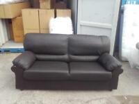 3 seater black faux leather ex display £90