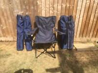 Five foldable camping chairs