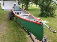 26 ft freighter canoe with trailer and motor