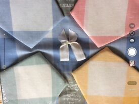 Checked linen tablecloth and napkins