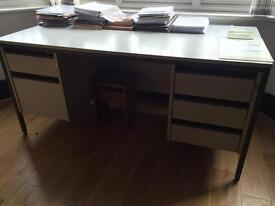 Large Steel and Wood Desk Study Table