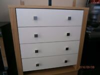 Oak Effect and White Chest of 4 Drawers