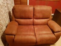 2 brown suedette reclining sofas