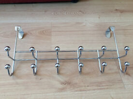 6 Double Ball Over Door Hooks Coat Hanger Chrome