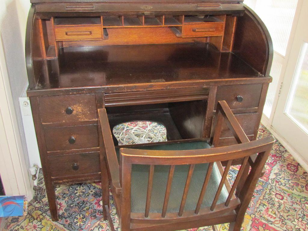Antique Lebus Roll Top Desk