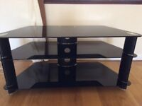 TV STAND - black / glass/ chrome