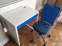 Desk MICKE White and Blue + Chair - IKEA