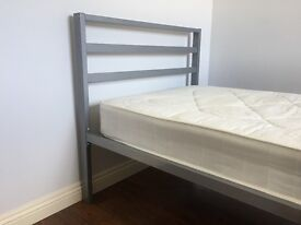 Single bed with mattress - metal frame, very solid