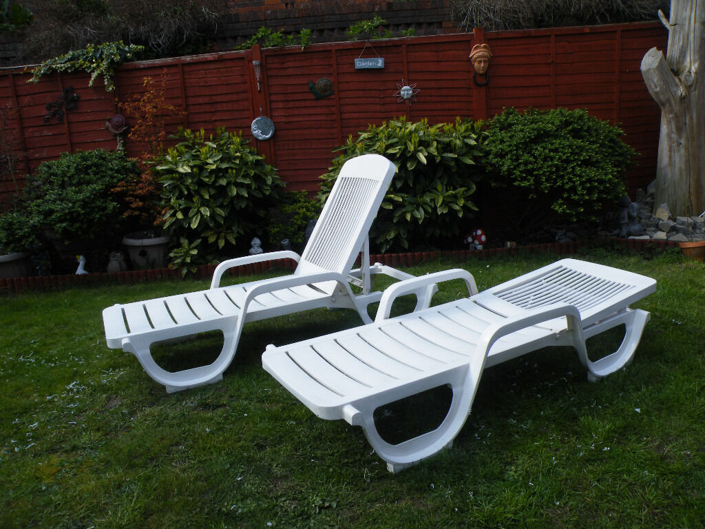 2 Garden Sun Loungers Made By Grosfillex White In Gillingham Kent Gumtree