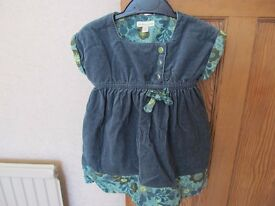 Verbaudet – Green crushed velvet dress, with matching Verbaudet long sleeved top – size 2yrs