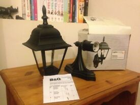 Outside wall light - traditional style glass and black metal. Brand new.