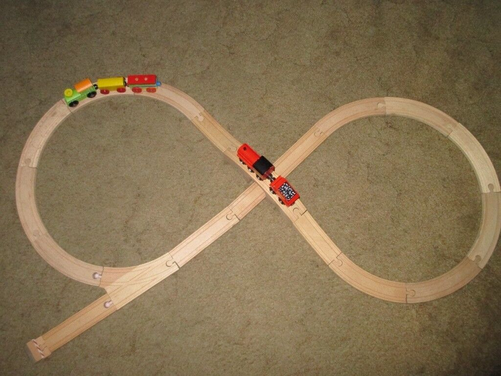 Wooden Kids Train Set - 22pc set with 2 Trains, Carriages, Rolling Stock, track In original Box