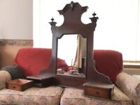 Antique vanity unit with mirror for top of chest of drawers, Italian, walnut veneer, 2 small drawers