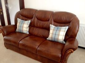 Brown leather 3 seater sofa and 2 armchairs