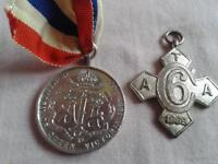 two military victorian medals one hallmarked silver