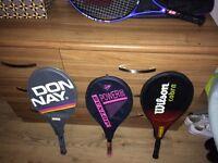 4 tennis rackets and bag and 3 balls Dunlop,wilson,cobra