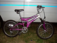 "GIRLS 20"" WHEEL FULL SUSPENSION MOUNTAIN BIKE JUST BEEN SERVICED AND SAFETY CHECKED"