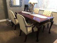 Kimball dining table/desk 4 cushion armchairs and filing cabinet plus side table