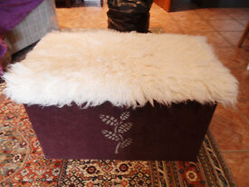 Covered wooden toy box/seat with lid