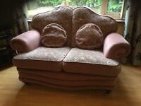 Two Seater Sofa Settee Dusky Pink Dralon
