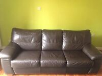 Sofa bed - Pavilion dark brown, leather, 3 seater deluxe DFS