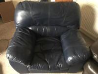Dark blue/navy leather armchair