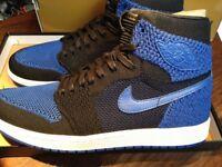8e35bcbceb571 Nike Air Jordan 1 Retro Hi Flyknit Blue Royal UK size 10