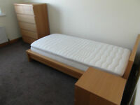 IKEA bedroom suite. MALM Single bed, chest of drawers and bedside cabinet.