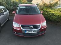 AUTOMATIC 7-Seater VW TOURAN 2.0 TDi 2008 RED 170BHP 10 MONTHS MOT SERVICE HISTORY £3950