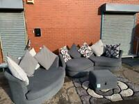 PENDING Absolutely Gorgeous Grey DFS Sofa set curved sofa & cuddle chair delivery 🚚 sofa suite