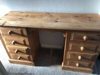 Solid pine dressing table with 8 drawers