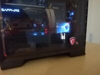 CUSTOM AMD Ryzen , Sapphire RX 580. Corsair Dominator, MSI Titanium Gaming PC, DDR4, 256gb SSD swap