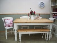 Stunning Pine Country Farmhouse 5ft Table Chair and Bench Set.