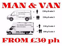 Man and Van FROM £30 p/h Transit, £40 p/h Luton, Gumtree & Ebay Deliveries, Boxes, Storage for Boxes