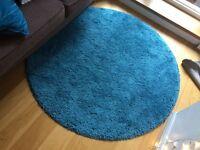 Round IKEA ADUM rug - teal colour - 130cm