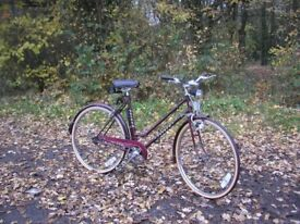 vintage step through ladies bike,1980,s classic,new tyres 21 in frame,immaculate,little used
