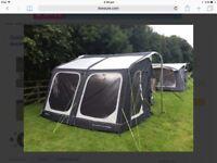 Caravan awning with ground sheet.