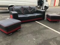 3 Seater Sofa and 2 Footstools (black&red leather)