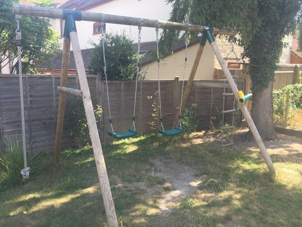 Plum Gibbon Wooden Swing Set With Rope And Rope Ladder In Wantage