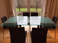 Extendable Contemporary Glass Dining Table in Excellent Condition