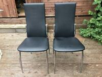 Black glass dining table and 2x chairs