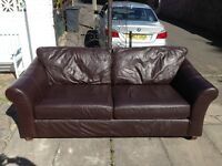Large Brown 2 Seater Leather M&S Settee