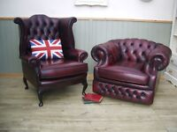 Stunning Pair of Oxblood Leather Chesterfield Queen Anne Chair and Club Chair.