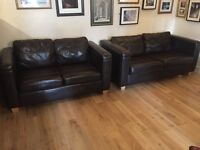 2 seater and 3 seater brown faux leather sofa