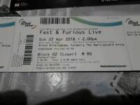 4 x Fast and Furious Live Tour tickets.