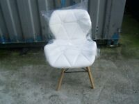 lovely stylish white leather chair new unused